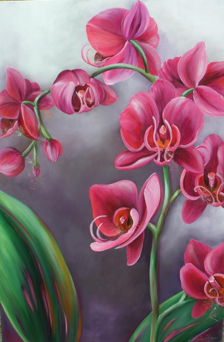 Phalaenopsis (120cm x 80 cm) Handpainted by Anja Keijzer (www.penseeltje.nl) (acryl on cotton)