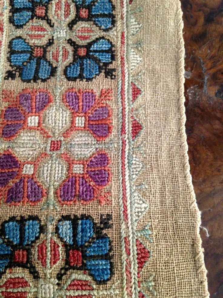 Antique Woven Linen Silk Embroidered Early Sampler Panel