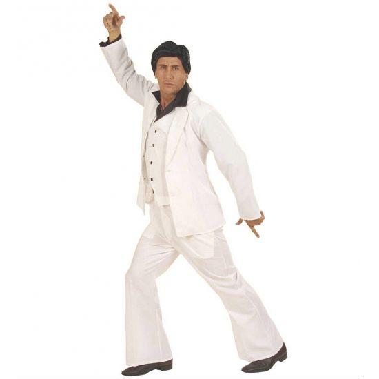 Wit disco fever pak voor heren. Dit witte disco fever pak bestaat uit een witte wijduitlopende broek, een witte gilet en een wit jasje. Perfect voor een disco fever/ john travolta imitatie! Dit disco fever pak is bijvoorbeeld te combineren met de zwarte disco pruik, ook beschikbaar op onze webshop!