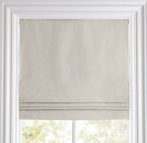 Cotton canvas cordless roman shade roman shades for Restoration hardware window shades