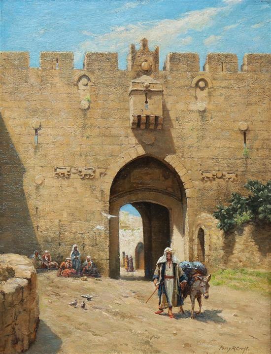 <b>Percy Robert Craft</b> <br /> <b>1856-1934 (British)</b> <br /> Nablus gate, Jerusalem <br /> oil on canvas <br /> h:44