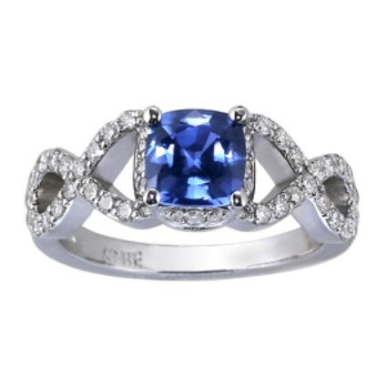Cushion Sapphire Infinity Ring...wouldnt mind this as an engagement ring!! And it has my birthstone! #in<3#
