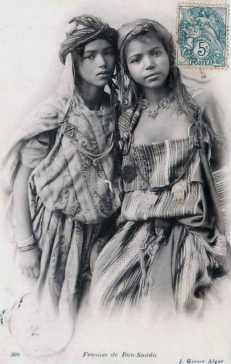 Africa | Bou-Saada women. Algeria. Post stamped 1912 || Scanned postcard; publisher Jean Geiser. No 308.