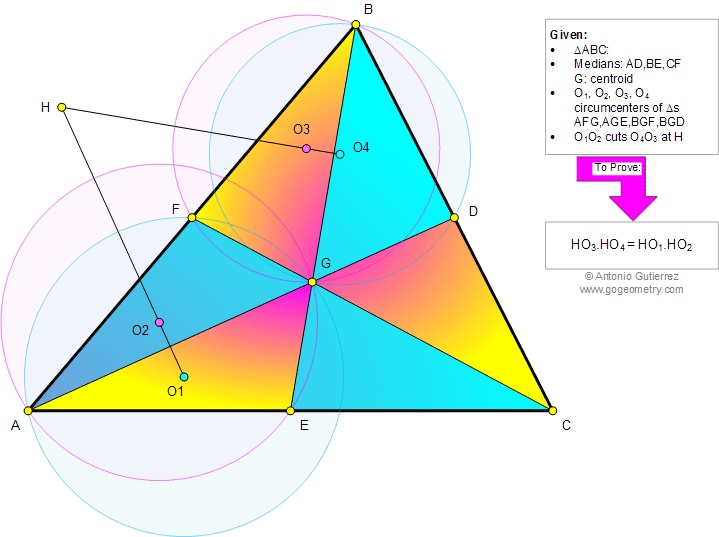 Geometry Problem 845 about Triangle, Medians, Centroid, Four Circumcenters, Perpendicular, Congruence, Similarity. Teaching, High school, College, Math Education.