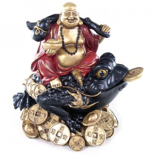 Decorative Chinese Buddha on Coins and Wealth Toad (BUD77) by www.goldengoosegifts.co.uk