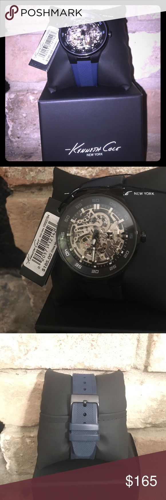 Kenneth Cole skeleton watch!! Brand new never been worn Kenneth Cole Skeleton watch. Black see thru face with navy rubber adjustable wrist band. Comes with original tag, pillow, box, and manuel. Kenneth Cole Accessories Watches