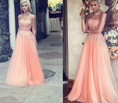 peach prom dress,long prom dress,charming prom dress,party Prom Dresses,tulle prom dress,evening Dresses,155312