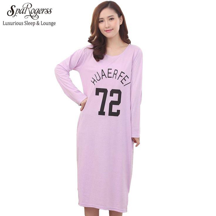 Female Long Nightgown Cotton Spring Autumn Women Home Clothing Sleep Lounge Sleepwear Lady Nightshirt Girl Fashion Leisure CU008