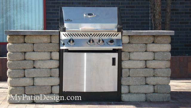 "cement block outdoor grill | Slide-In Grill Station Idea for 30"", 39"" and 48"" Grills"