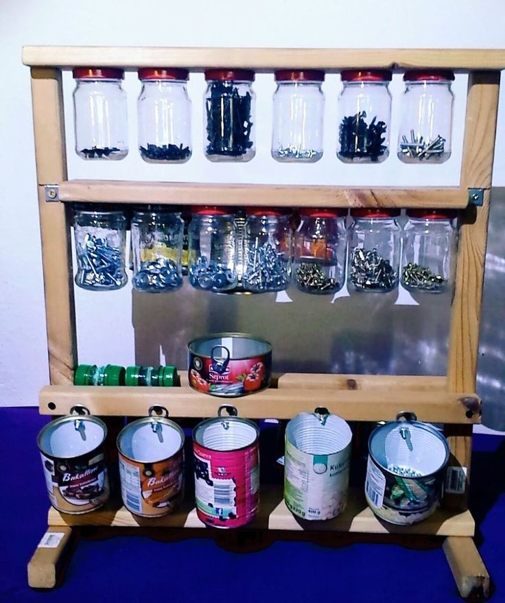 Nail Art Storage Ideas: Organizer For Screws From Jars And Metal Cans In 2019