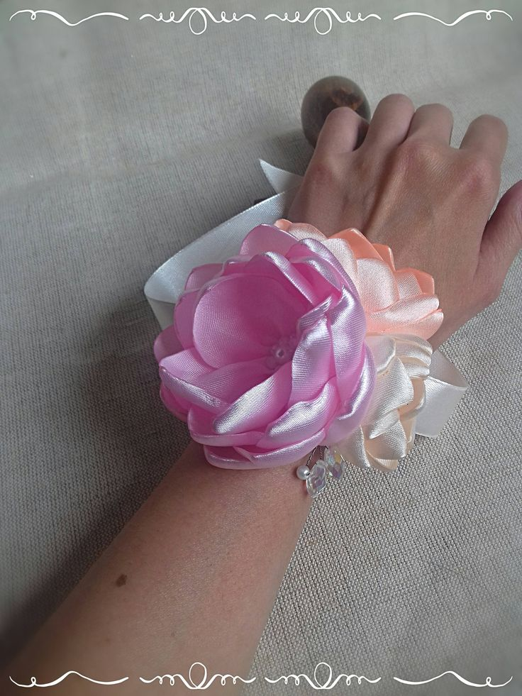 Wrist Corsage - wedding fabric flower with beads and rhinestone, choise of coloursFREE SHIPPING by FonixDecoration on Etsy
