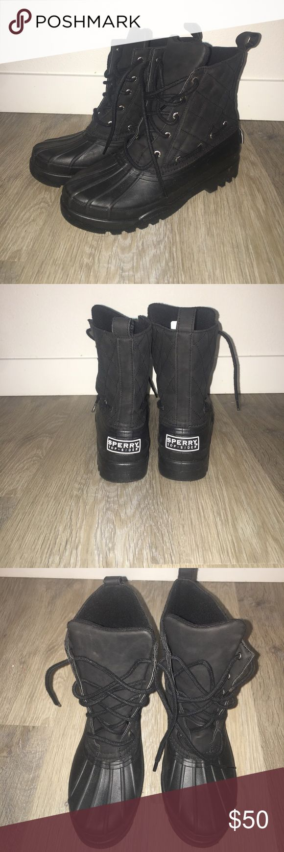 Sperry top sider rain/snow boots All black rain/snow boots. Hard rubber sole w/fleece inside. Sperry Top-Sider Shoes Winter & Rain Boots