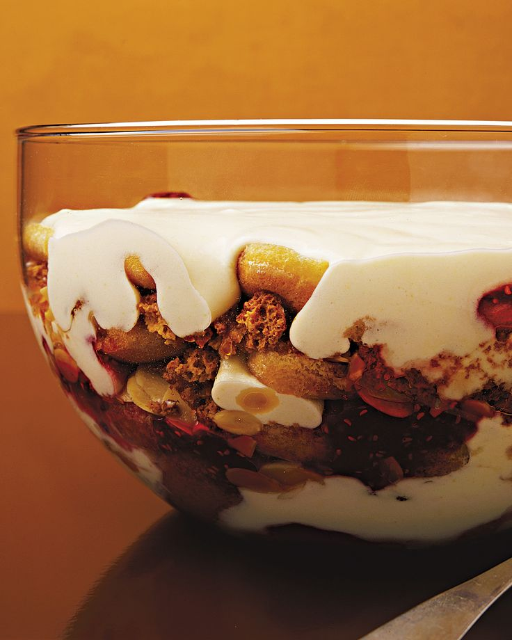 Layers of brandy-spiked pastry cream, ladyfingers, raspberry jam, toasted almonds, and amaretti cookies make a lovely chorus of flavors and textures in this holiday trifle. The piece de resistance? The whole thing is doused in sherry.