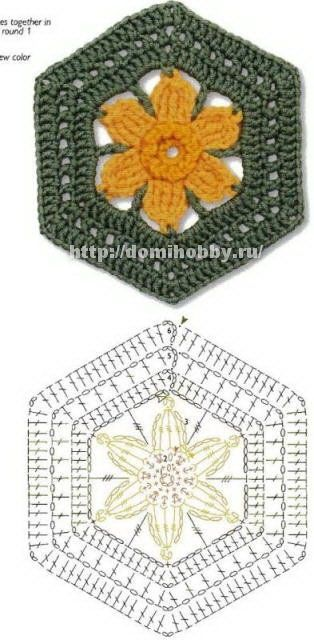 Crochet Motifs with free pattern charts at site .... many hexagons, a triangle, & some squares.: