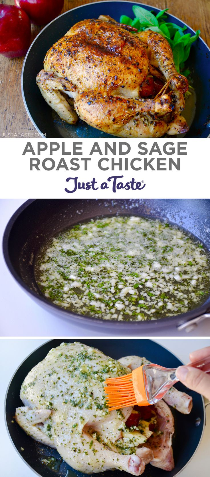 Apple and Sage Roast Chicken recipe from justataste.com #recipes #ChickenRecipes #healthyeating