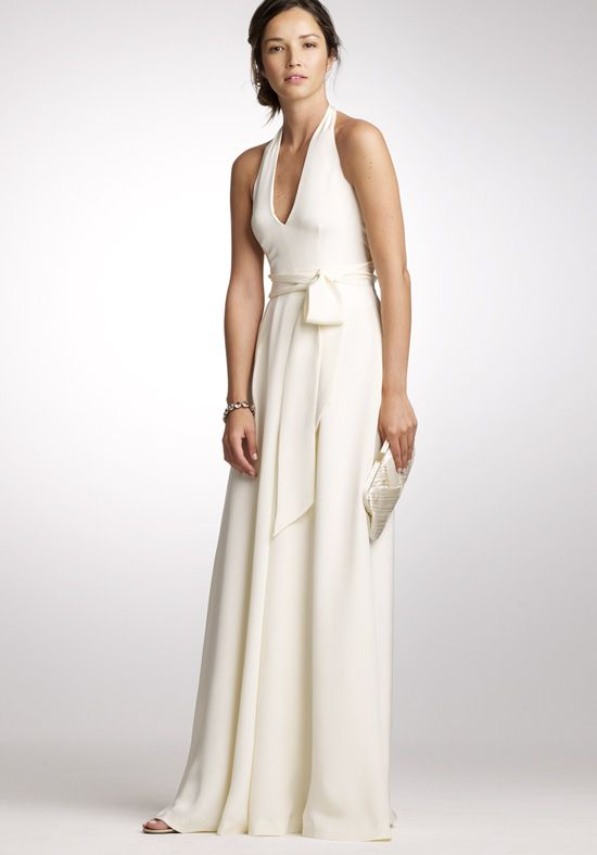 Simple Off White Casual Wedding Dresses Line Halter Floor Length Silk Tricotine Wedding