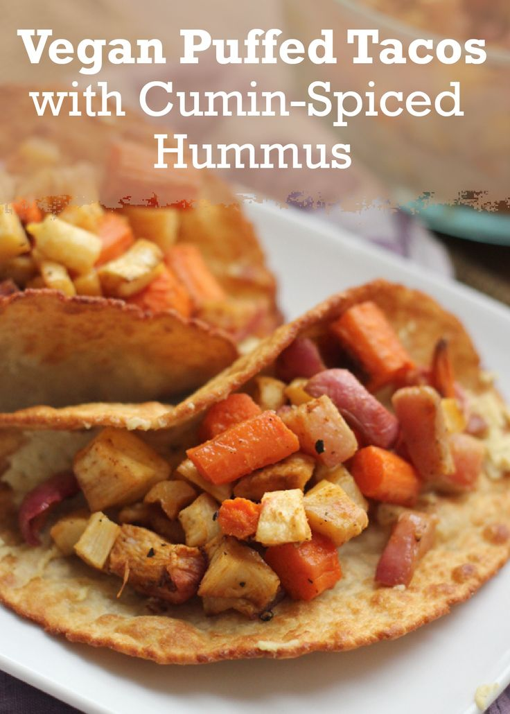 Tacos with a southwestern twist! A quick fry in the deep fryer followed by a smoky hummus and spicy root veggie filling makes this delicious Vegan Puffed Tacos with Cumin-Spiced Hummus!