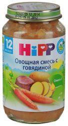 Хипп пюре овощное рагу с говядиной с 12 мес 220г  — 104р. ------ Овощное рагу с говядиной   содержит йод - необходимый элемент для работы щитовидной железы  без добавления крахмала  без глютена  без молочного белка  с кусочками, которые учат Вашего малыша жевать  без консервантов, красителей, ароматизаторов  Содержит Омега-3 жирные кислоты  Органический продукт   с 12-ти месяцев       Меню, содержащие органическое мясо, вносят важный вклад в снабжение Вашего ребенка ценными белками…
