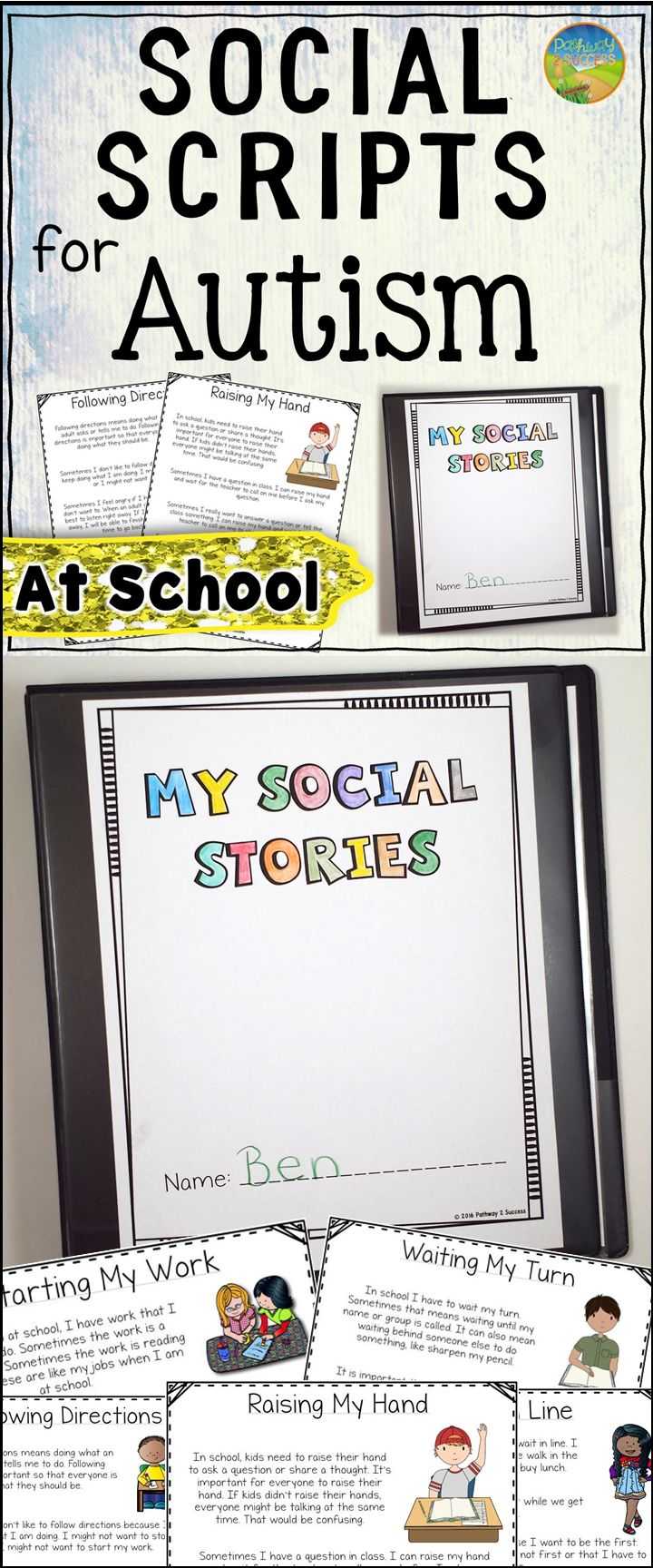 Social scripts for autism - teaching about school skills