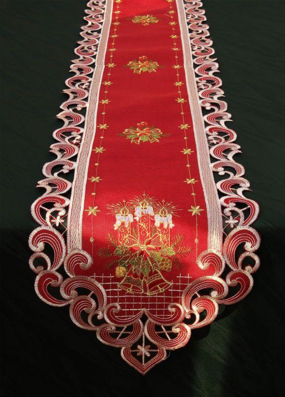 Dark-red Bordado Navidad Mantel Camino De Mesa Servilleta linen-look Vela