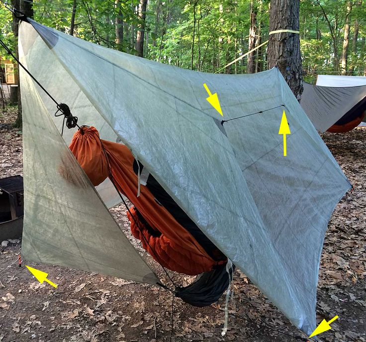 This is an excellent Method to Manage Hammock Tarp Doors. It's fast and simple to use. It keeps the tarp doors neatly and securely out of the way in dry weather or when you are getting in and out of the hammock. But it quickly secures the tarp doors if needed—like when a rain storm quickly moves