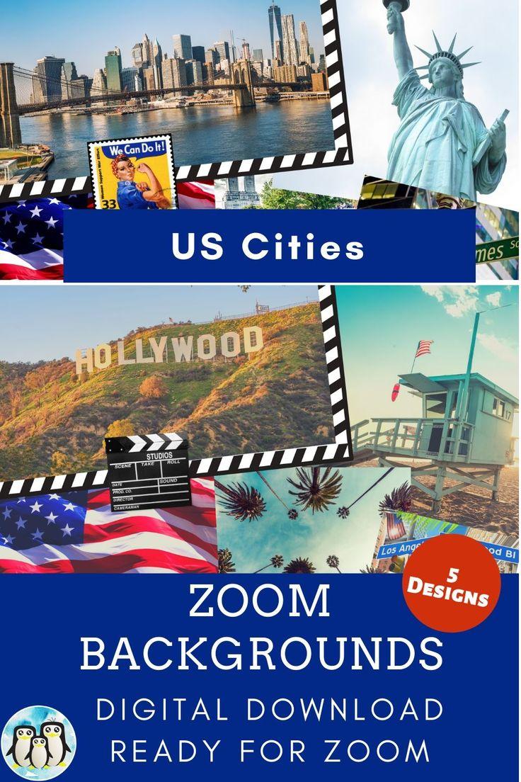 Zoom Virtual Background Bundle Of 5 Us City Postcards Zoom Background Virtual Background Video Conference Backgrounds In 2021 City Postcard Background Virtual
