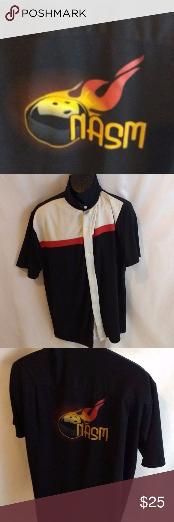 """Black Boardroom Bowling Shirt XL """"Nasm"""" shirt Excellent Pre-Owned Condition   Size: XL Theme: Custom Bowling Shirt   Don't be afraid to make an offer I'm very negotiable  Pet/Smoke Free Home  Measurements  Length  30"""" Pit to Pit 25"""" Shoulder To Sleeve 10"""" a10 Black Boardroom Shirts Casual Button Down Shirts #bowlingshirts"""
