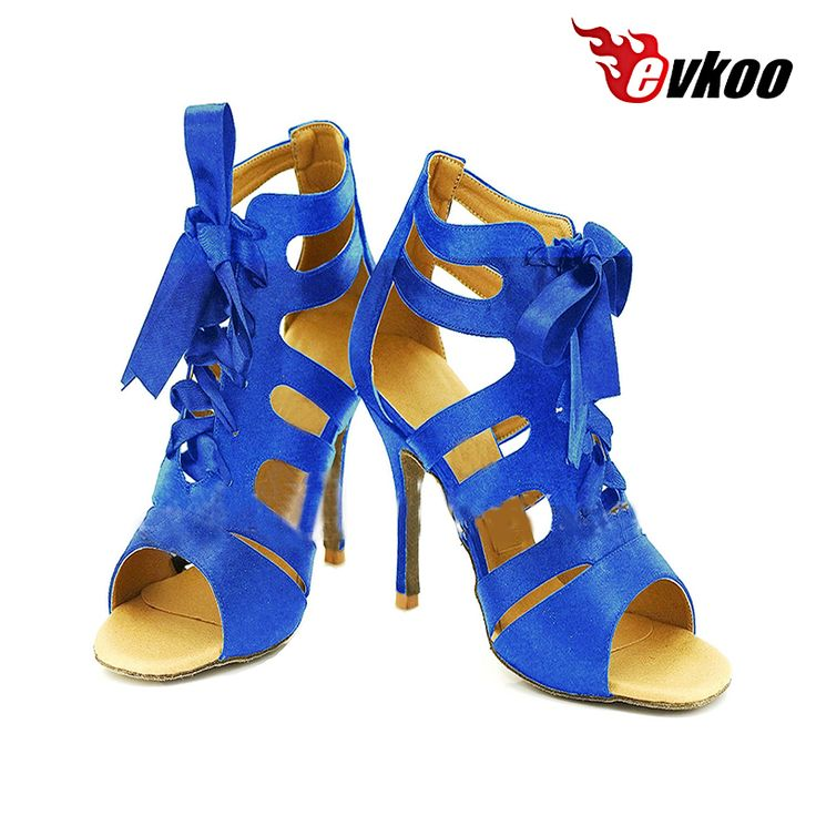 Evkoodance US4-12 Blue Black And Red Heel Height 8.5 cm Zapatos De Baile Comfortable Dance Latin Shoes For Women Evkoo-420 #Affiliate