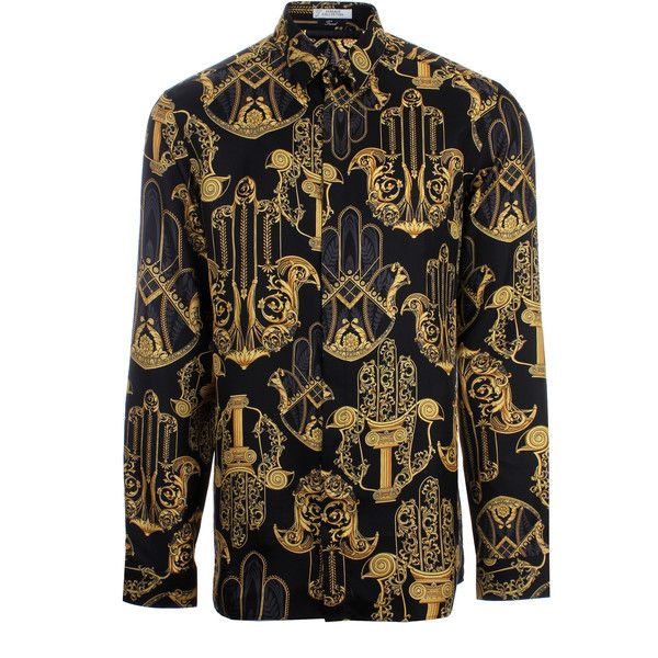 Versace Collection Hamsa Hand Print Silk Shirt (£375) ❤ liked on Polyvore featuring men's fashion, men's clothing, men's shirts, men's casual shirts, men, mens slim shirts, mens slim fit casual shirts, mens collared shirts, mens print shirts and versace mens shirts