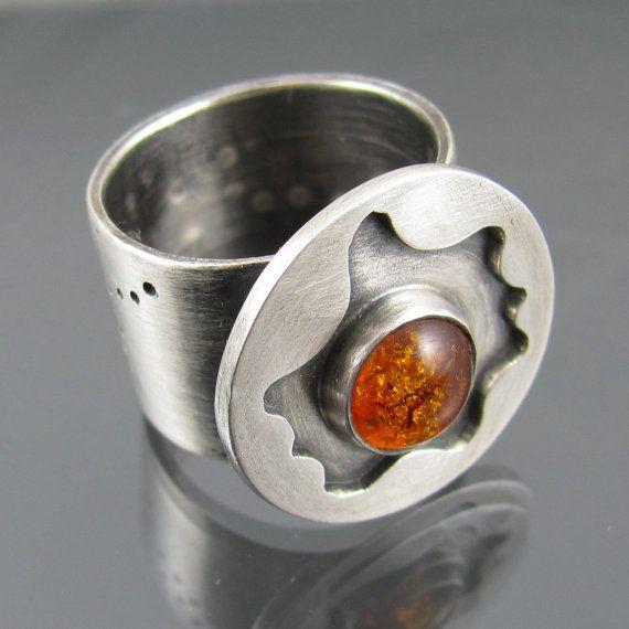 amber nucleus ring amber gemstone sterling by NRjewellerydesign