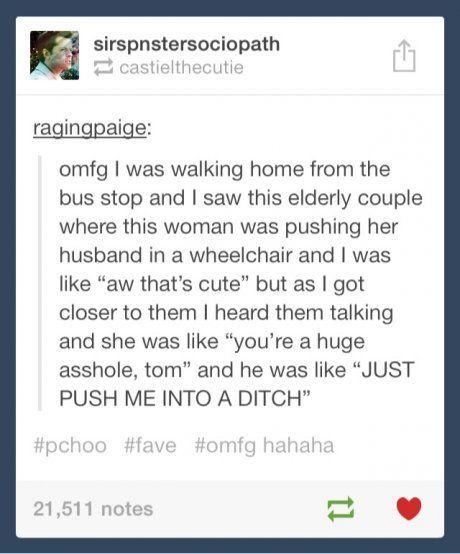 Ahhh the elderly