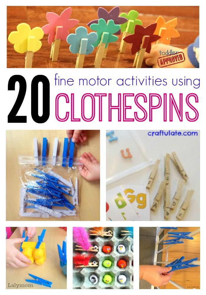 20 Fine Motor Activities Using Clothespins on Lalymom.com. Everything from super simple busy bags to letter learning, math, colors and more-...