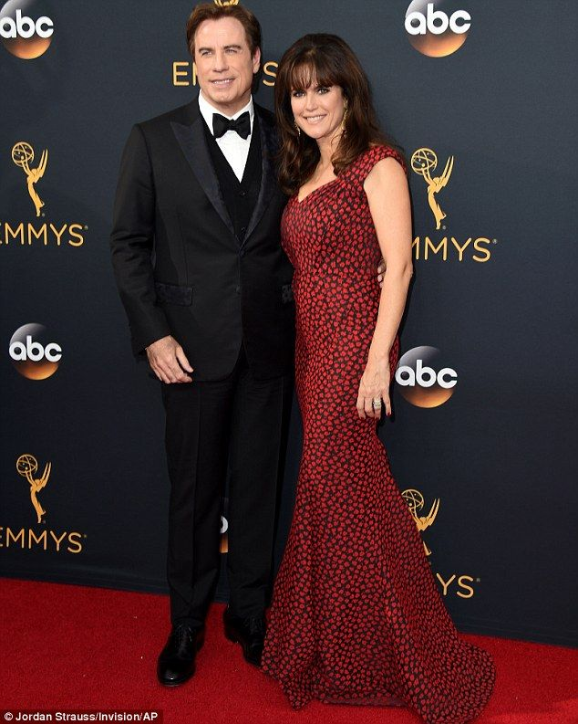 Bringing the glamour: John Travolta andwife Kelly Preston brought Hollywood stardust to the Emmys in Los Angeles on Sunday