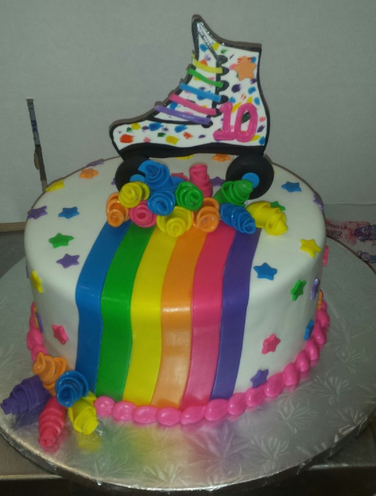calumet bakery rainbow roller skate cake - Decorated Cakes