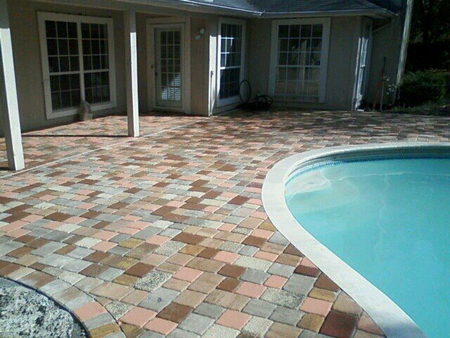 Patio Pavers Venice Fl : Multi color brick paver pool deck decks bricks