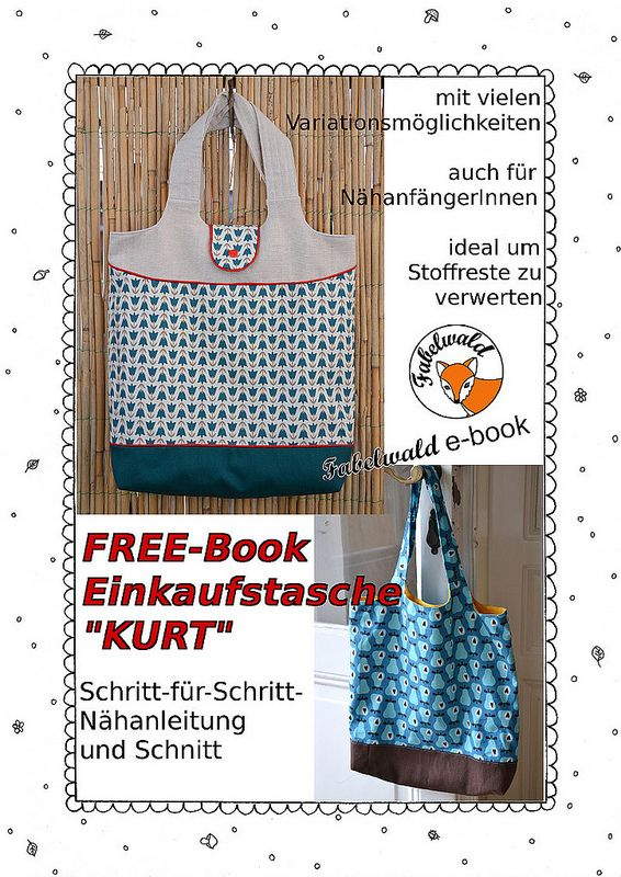 Einkaufstasche freebook // Kurt // free pAttern // Shopping bag // sewing