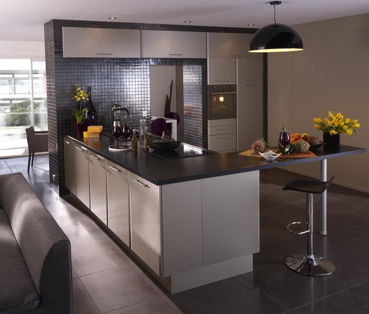 cuisine ouverte beige et gris kitchens home decor. Black Bedroom Furniture Sets. Home Design Ideas