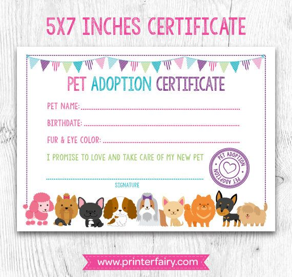 The 25 best adoption certificate ideas on pinterest paw patrol pet adoption certificate pet adoption birthday party puppy birthday printable certificate instant yadclub Gallery