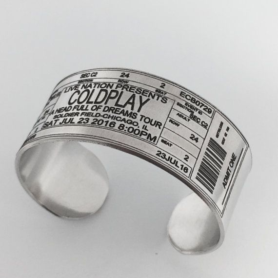 Turn your concert, movie, play ticket into a wearable memento!  This cuff bracelet is made in a simple and versatile unisex style. The bracelet is created individually by hand, engraved, and polished to a shiny silver finish.  >> DETAILS <<  - 6 long and 1 wide = One Size Fits Most  - Adjustable - Metal can be gently molded to fit your wrist.  - Durable - permanent engraving wont rub or wear off  Your Choice of : Aluminum or NuGold  Aluminum = Lightweight, Hypoallergenic & Tarnish Resistant…