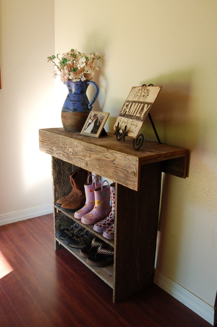 """Farmhouse Entry Table Rustic Furniture Country Farm House Table 30"""" Long 30"""" tall 13"""" Wide Console Table Wall Table. $200.00, via Etsy.- maybe for the back door- shoes!!!"""