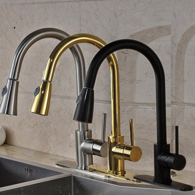 "High Quality Best Price Single Handle Kitchen Faucet Pull Out Water Taps W/ 8"" Hole Cover Plate - ICON2 Luxury Designer Fixures  High #Quality #Best #Price #Single #Handle #Kitchen #Faucet #Pull #Out #Water #Taps #W/ #8"" #Hole #Cover #Plate"