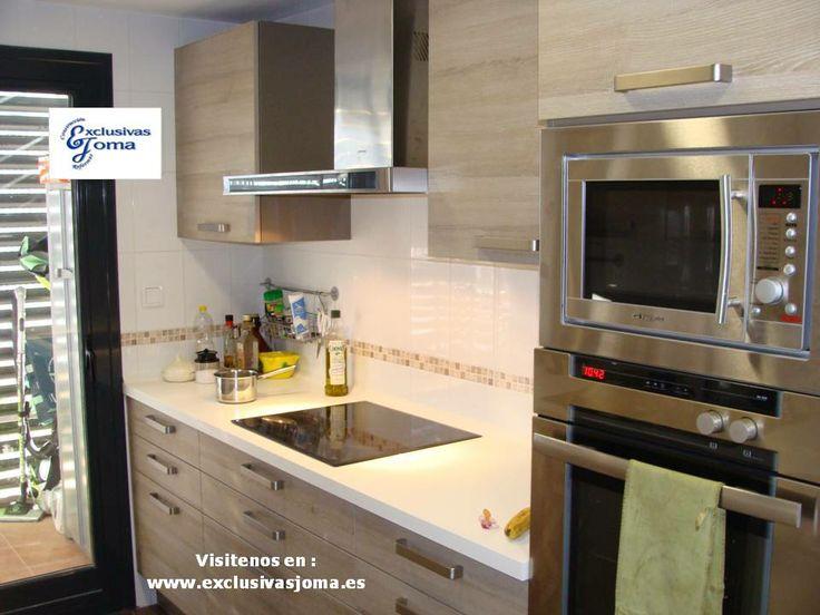 Muebles de cocina en color madera roble imperial y encimera de silestone blanco zeus - Muebles aragon madrid ...