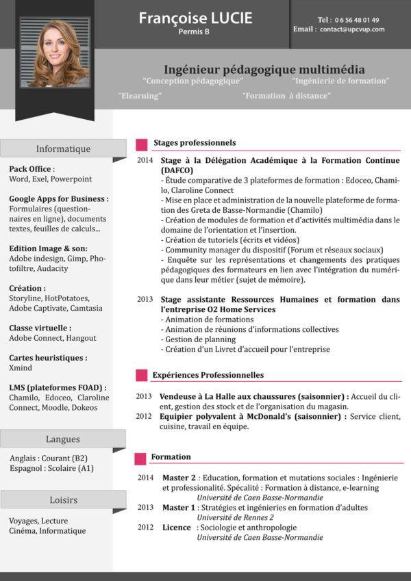 CV Ingénieur Stagiaire   Cv ingenieur, Stagiaire et ...