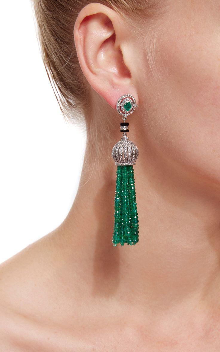 Sanjay Kasliwal Emerald Tassel Earrings - Preorder now on Moda Operandi