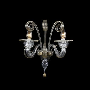 #WallLamp Gold Mercurio, created in #Murano #glass from #Venice.  Visit www.sognidicristallo.it to see or buy online our creations! Price 2 lights € 200.