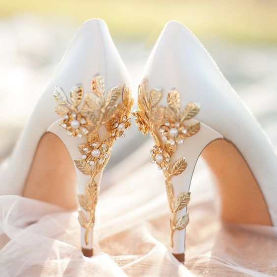 32 Floral Wedding Shoes Ideas For Spring And Summer Nuptials: white platform shoes with gold cherry blossoms and pearls look luxurious