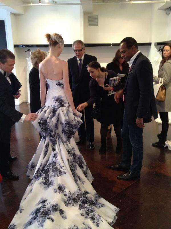 Wow unique dress!    Blue floral print gown a la Douglas Hannant #wedding #blue #ideas reception dress???  Xoxo bleuclothing.com