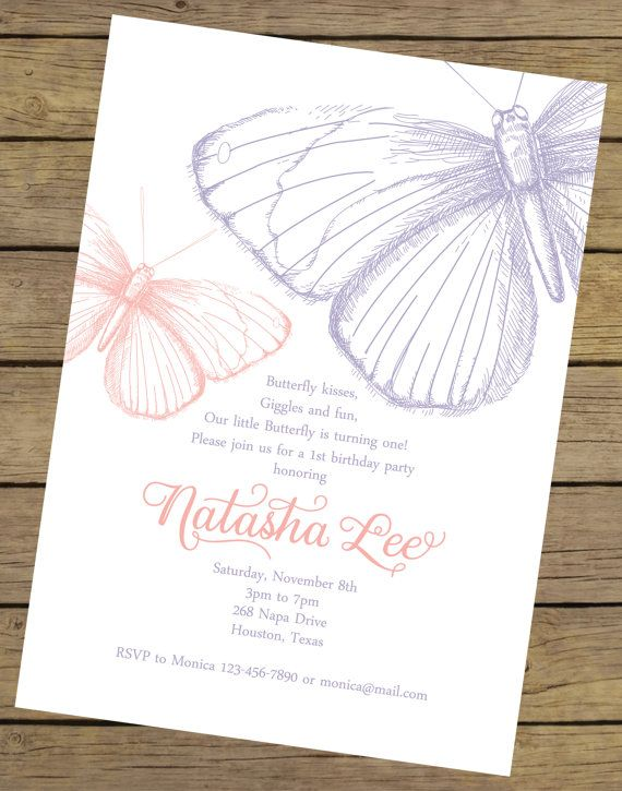 Butterfly Birthday Invitation  Butterfly by CharlesAlexDesign