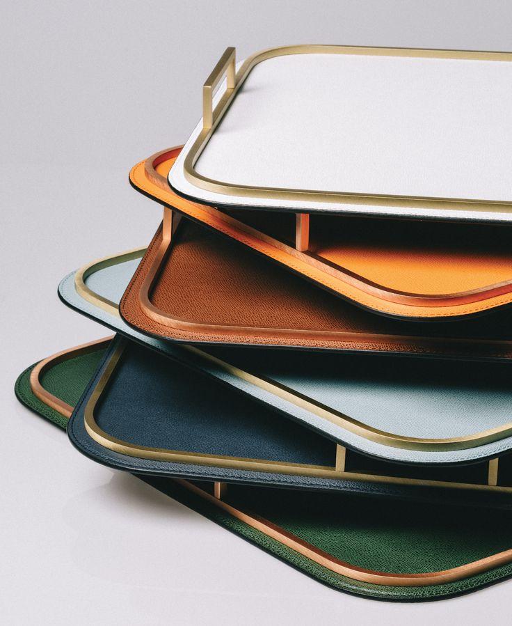 Brass-edged leather trays by Giobagnara