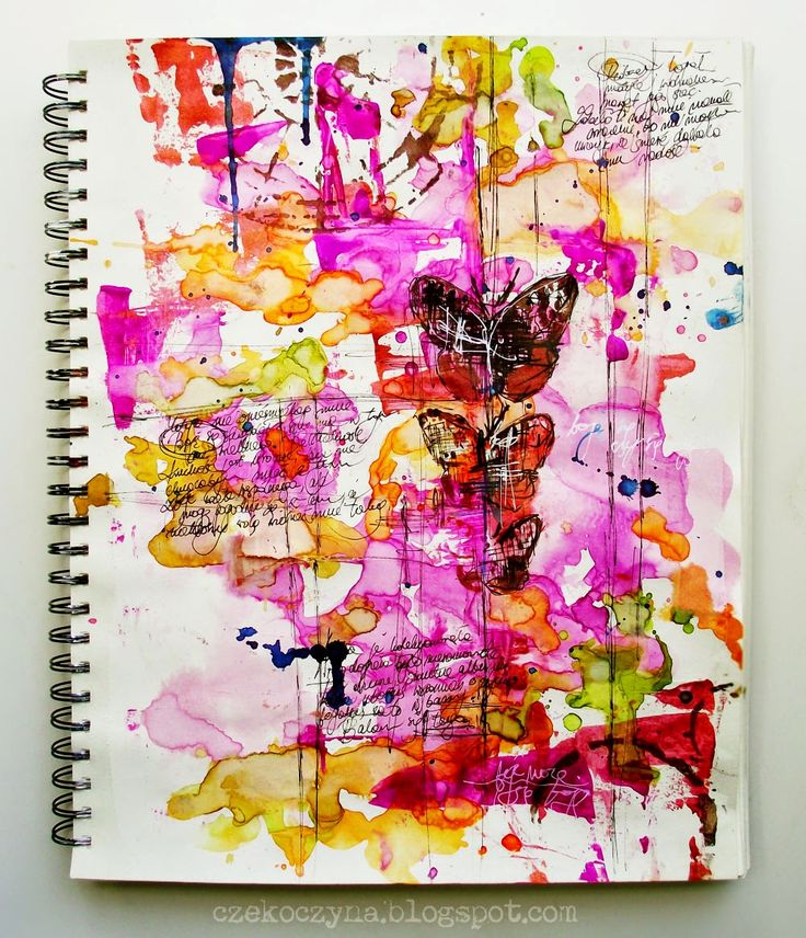 Mixed Media Place: Ecoline 101 - love the is art journal page!